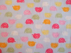 ELEPHANT MULTI COLOUR CHILDRENS FABRIC 100% COTTON PER 1 METRE